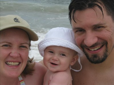 Mommy, Daddy, & Tyler at the beach