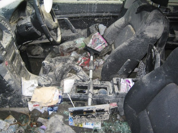 Ruined car interior