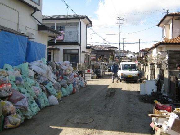 Shiogama City - streets full of trash