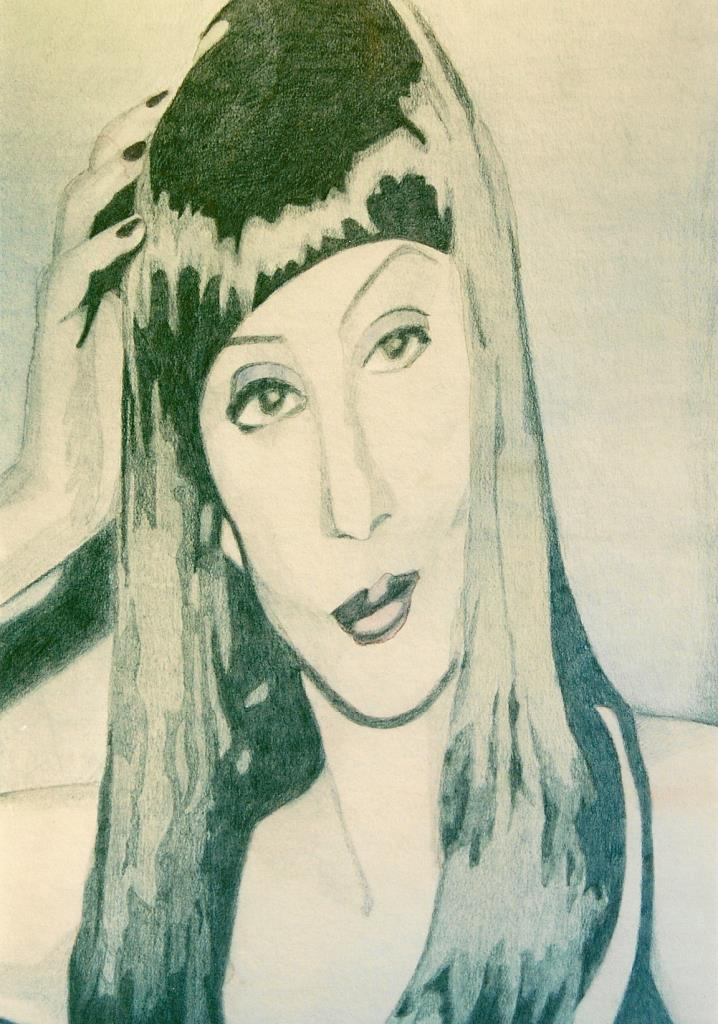 Cher 18x20 graphite & watercolor