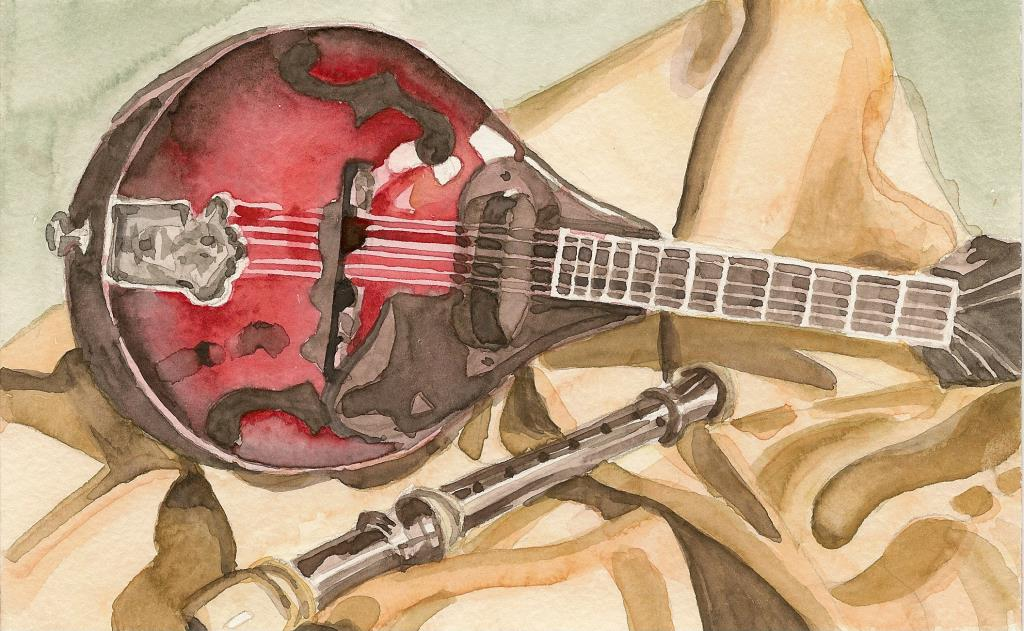 Mandolin 4.5x7 watercolor