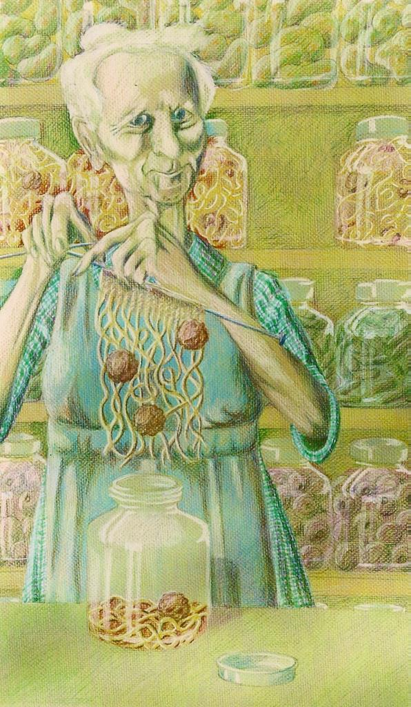 Spaghetti Lady ~18x24 colored pencil