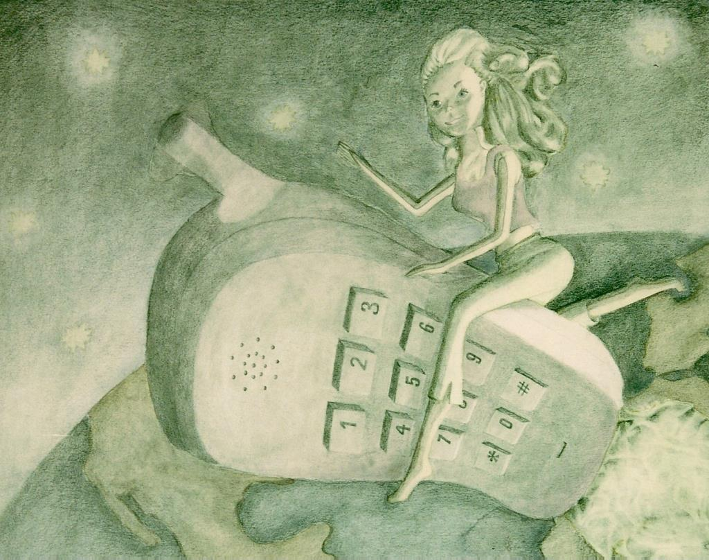 Barbie on Her Cell 18x20 graphite & watercolor