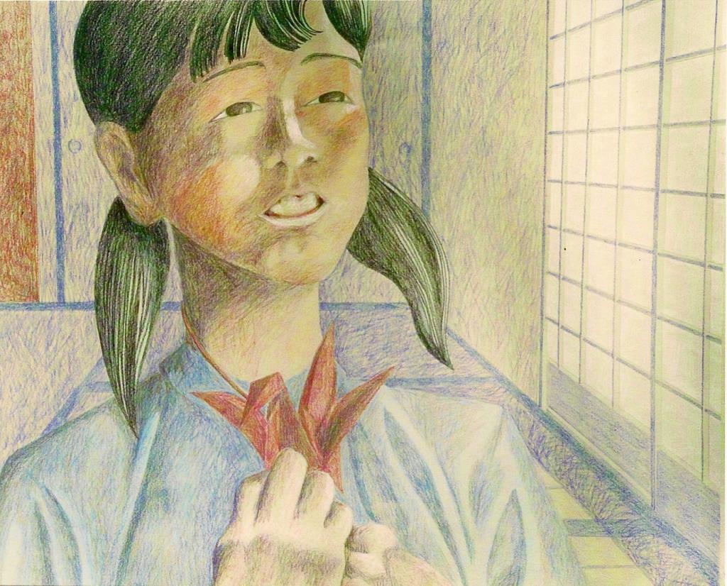 Cranegirl 18x20 colored pencil