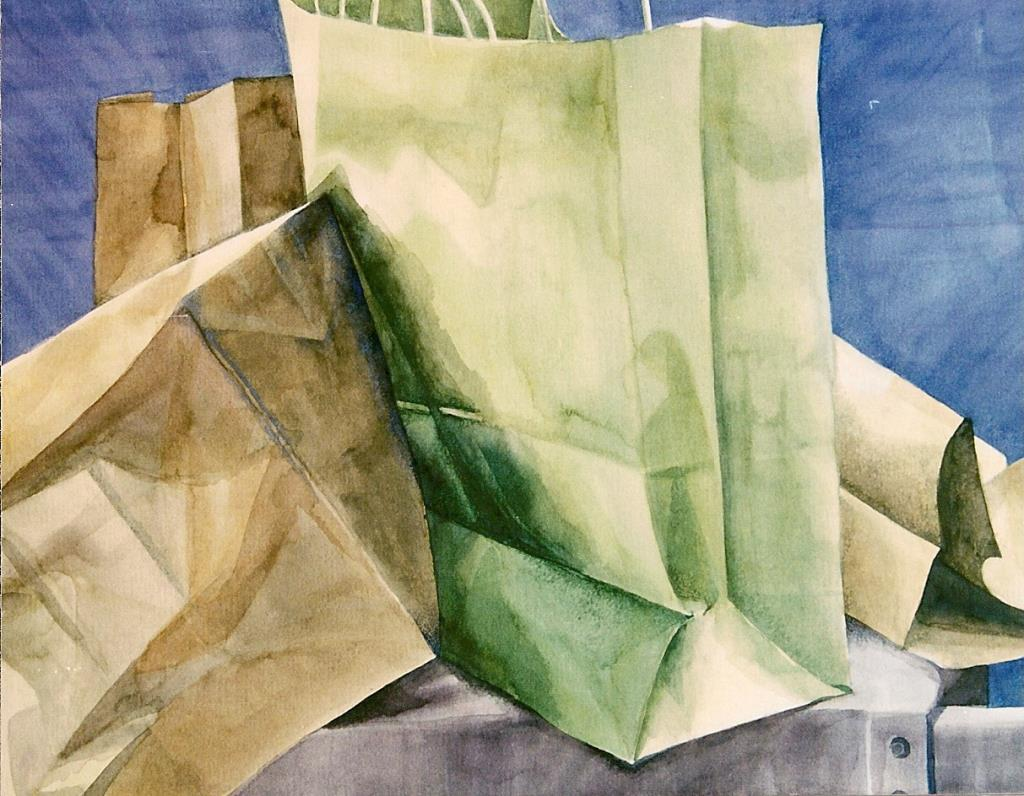 Grocery Bags ~18x20 watercolor