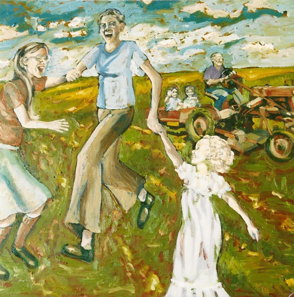 Heaven & Grandpa 28x28 oil on canvas