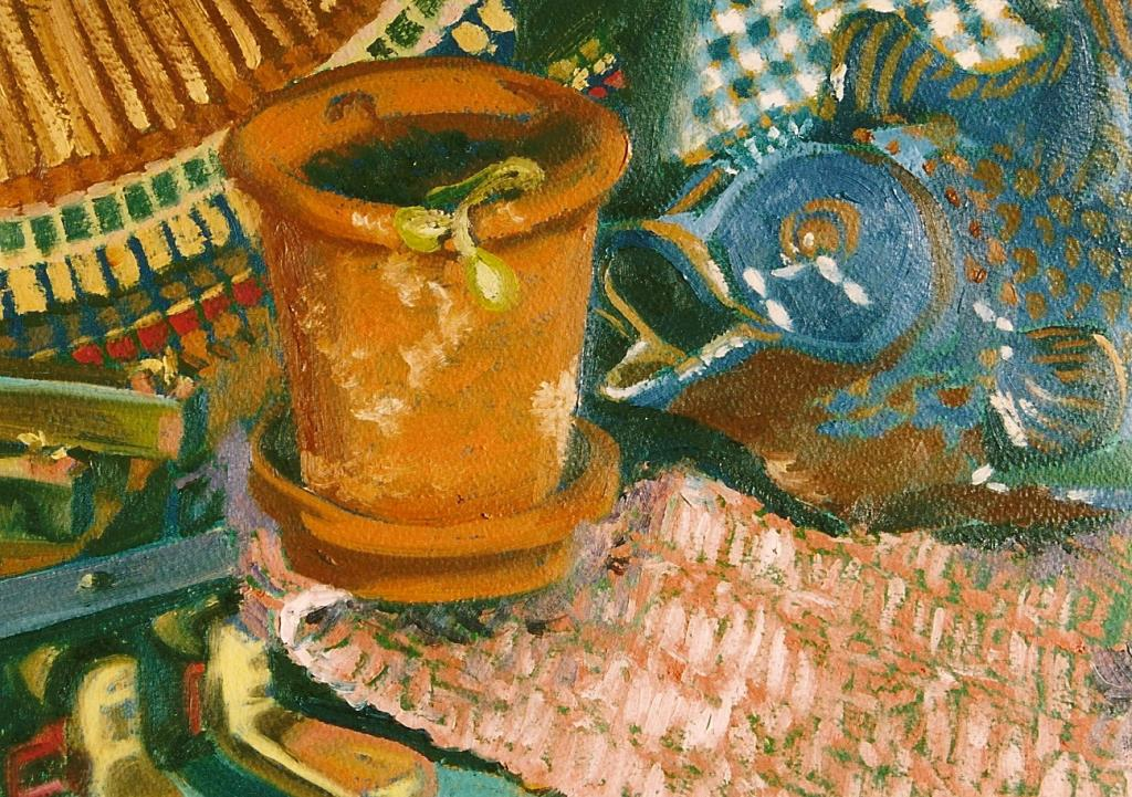 Under the Piano 10.5x14.5 oil on paper