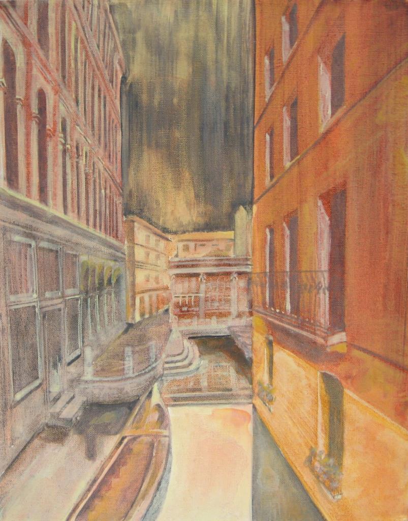 Venice from a Book 16x20 acrylic on canvas