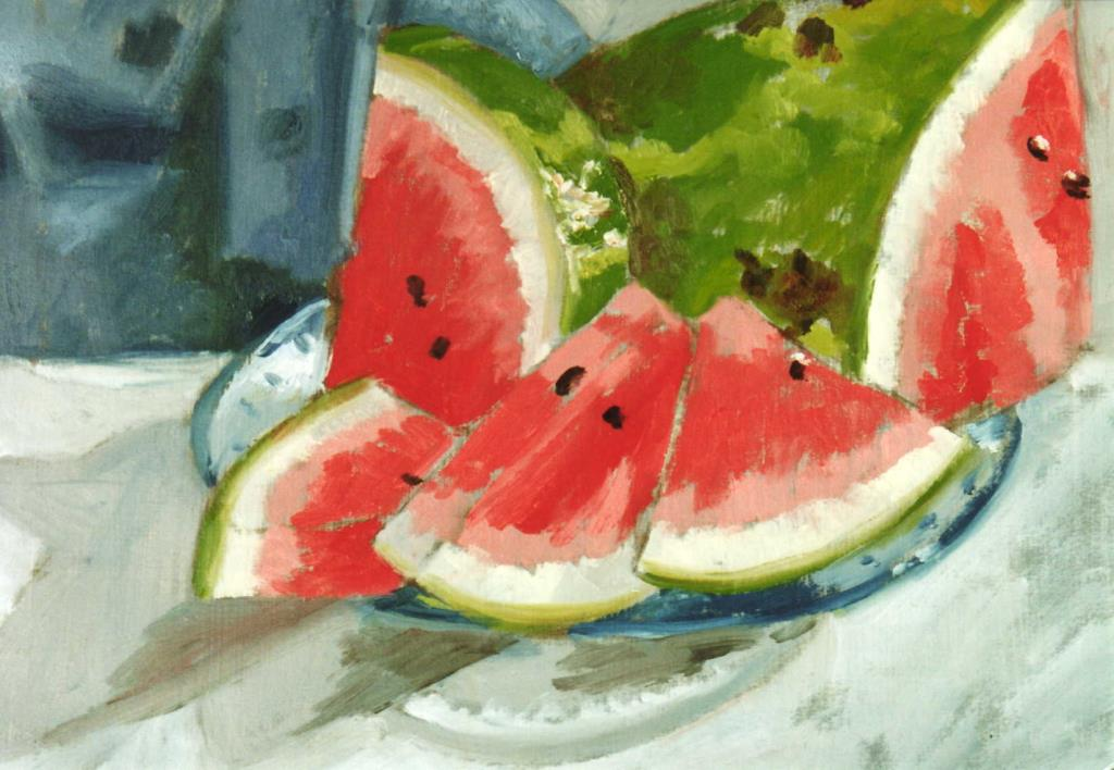 Watermelons 10.5x14.5 oil on paper
