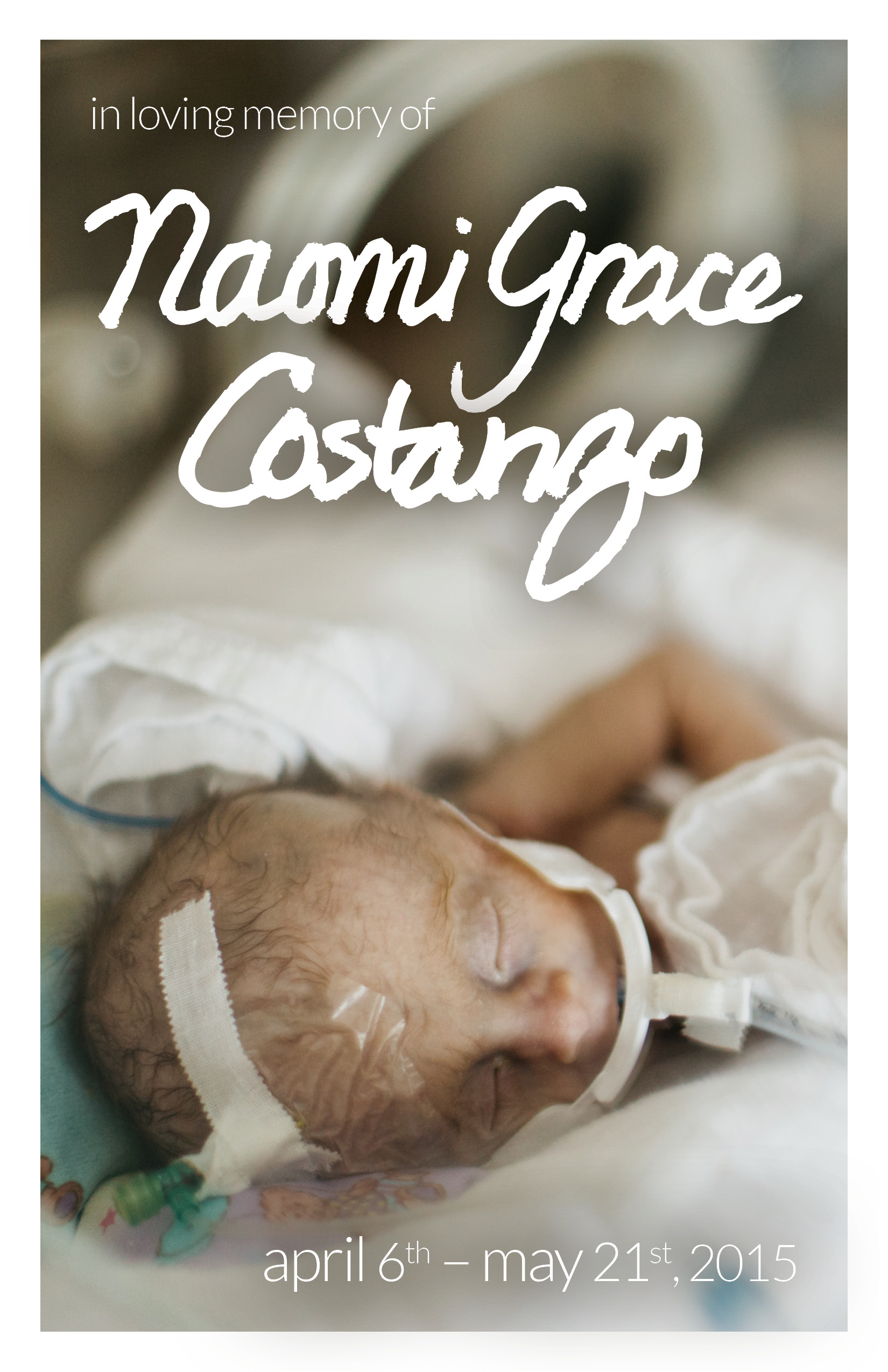 Naomi Grace Costanzo Funeral Service Front Cover